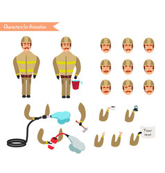 Set for animation of firefighter in uniform vector