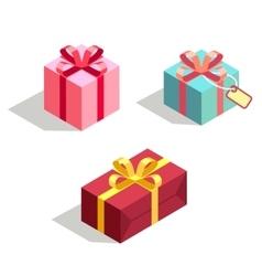set gift box 3d isometric vector image