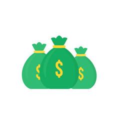 Set green money bag icon like loan vector