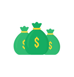 set of green money bag icon like loan vector image