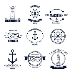 Set of vintage retro nautical badges and vector image