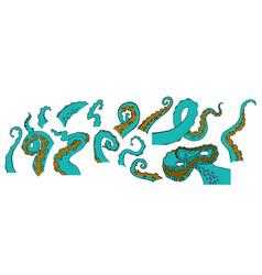 sketch cartoon octopus tentacles vector image