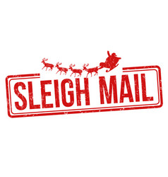 sleigh mail sign or stamp vector image