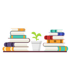 Stack of books with colored covers and plant vector