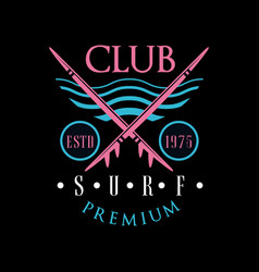 surf club premium logo estd 1975 design element vector image