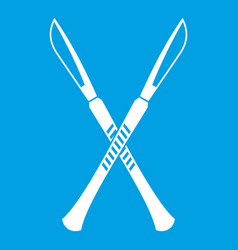 Surgeon scalpels icon white vector