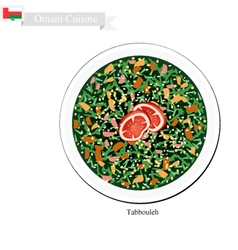 Tabbouleh or Omani Tomatoes and Parsley Salad vector
