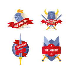 the knight badge company firm logo flat knight vector image