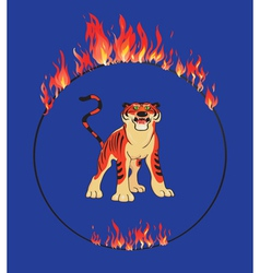Tiger with flaming ring vector