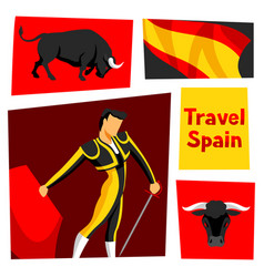 Traditional spanish corrida bull and toreador vector
