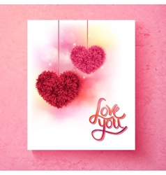 Two romantic floral hearts - Love You vector