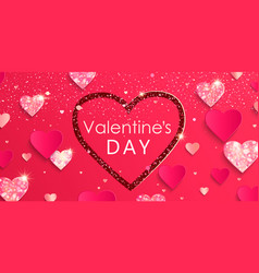valentines day banner with shiny glitter hearts vector image