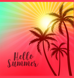 vibrant hello summer poster with palm trees and vector image