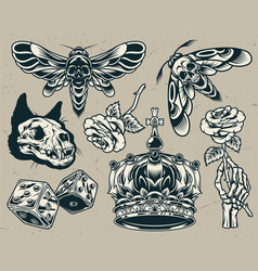vintage monochrome tattoos set vector image