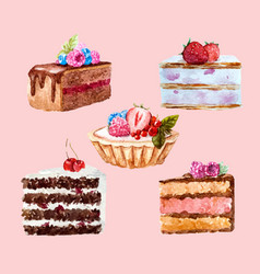 Watercolor dessert set vector