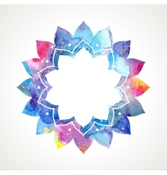 Watercolor flower oriental frame vector image