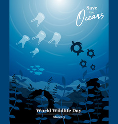 Wildlife day concept for ocean life protection vector