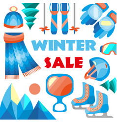 winter sale banner for sale text for year vector image