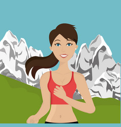 woman running in the landscape vector image