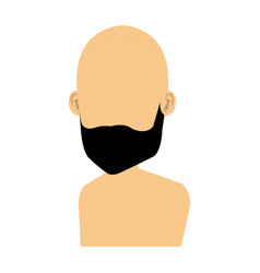 Young man bald shirtless avatar character vector