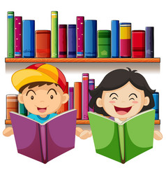 boy and girl reading book in library vector image vector image