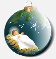 Christmas ball with baby Jesus vector image