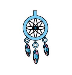 Cute dream catcher with feathers design vector