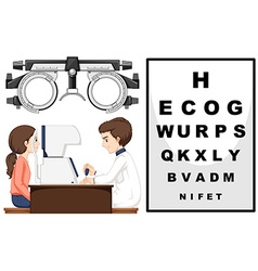 Eye doctor and patient vector image vector image