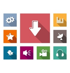 Flat media business and technology icons vector image vector image