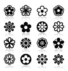 Flower head icons set vector