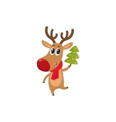 Funny reindeer in red scarf holding a Christmas vector image