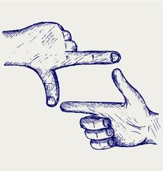 Hand symbol frame vector image vector image