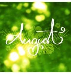 Handmade calligraphy and text august vector