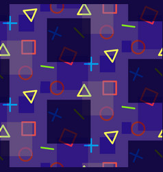 night colorful seamless pattern in memphis style vector image vector image