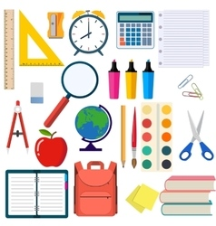 School and education workplace items vector image