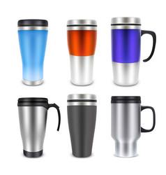 Thermo cup travel mug mock-up set vector