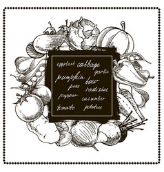 vegetables banner hand drawn vector image vector image