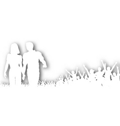 cheering couple cutout vector image vector image