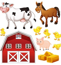 Farm animals and barn vector image