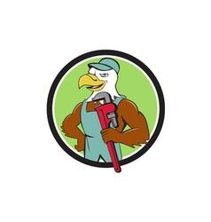 Bald Eagle Plumber Monkey Wrench Circle Cartoon vector image vector image