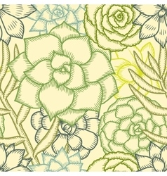 Hand drawn succulents seamless pattern vector image
