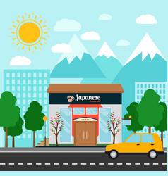japanese restaurant building and landscape vector image
