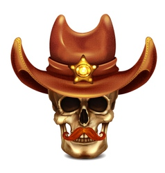 Sheriff skull in cowboy hat vector
