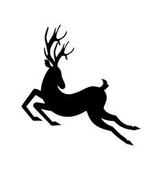 silhouette deer running reindeer moving leaping vector image