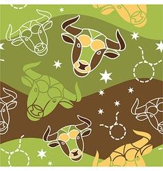 Taurus - Zodiac seamless pattern vector image vector image