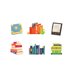 Books set in cartoon design style isolated on vector