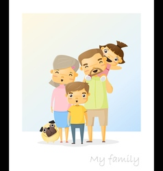 Cute family portrait Happy family background 2 vector image vector image