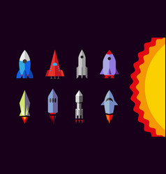 flat rockets set spaceship icons vector image