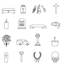 funeral simple black outline icons set eps10 vector image vector image