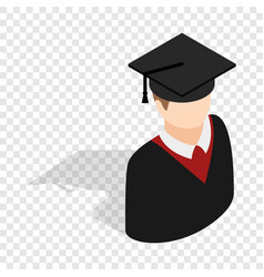 graduate man in cap and gown isometric icon vector image vector image